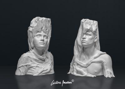 Desenvolupament i Fusió - escultura de un conjunto mujer y hombre en macryl blanco