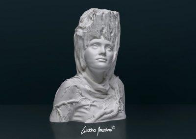 Desenvolupament - escultura de un busto femenino en macryl blanco