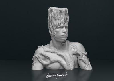 Estat Superior - escultura de un busto masculino en macryl blanco