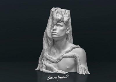 Fusió - escultura de un busto masculino en macryl blanco