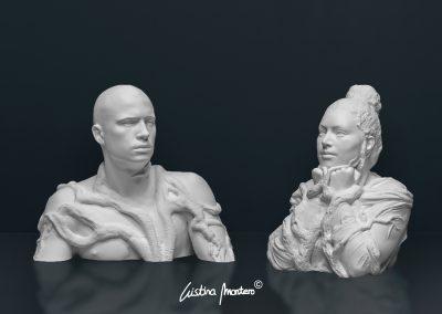 Integrant-se a La Natura i Reflexiva - escultura de conjunto hombre y mujer en macryl blanco