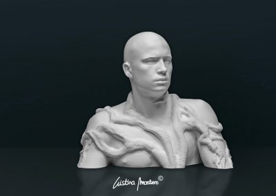 Integrant-se a La Natura - escultura de un busto masculino en macryl blanco